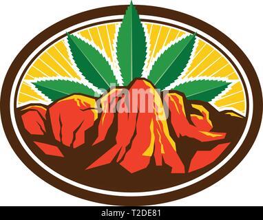 In stile retrò illustrazione di un rosso canyon e ripida scogliera con foglia di canapa in background imposta all'interno di forma ovale su sfondo isolato. Immagini Stock