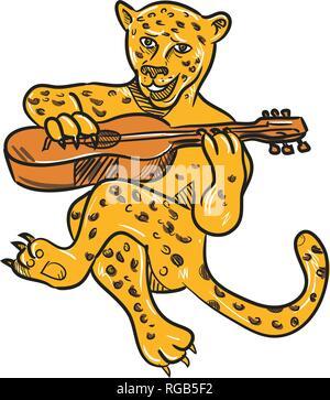 Lo stile del fumetto illustrazione di un felice jaguar o leopard suonando una chitarra acustica mentre è seduto o seduto realizzato a pieno colore su b isolate Immagini Stock