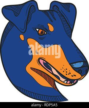 Disegno stile sketch illustrazione della testa di un Manchester Terrier, una razza di cane di smooth-haired terrier tipo visto dal lato sul bianco isolato Immagini Stock