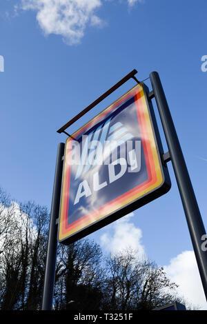 Supermercato Aldi Bakewell nel Derbyshire Peak District,UK. Immagini Stock