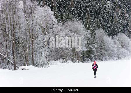 Un pareggiatore corre sulla neve passato campo coperto di neve paesaggio invernale. Immagini Stock