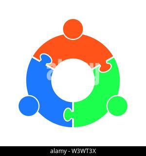 Lavoro di squadra logo.Cerchio in forma di un puzzle di tre parti. Design piatto Immagini Stock