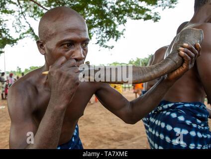Musicista che soffia in un corno durante un Goli mask dance nel baule tribù, la Région des Lacs, Bomizanbo, Costa d'Avorio Immagini Stock