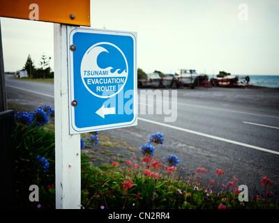 Tsunami i percorsi di evacuazione, Ngawi, Nuova Zelanda Immagini Stock