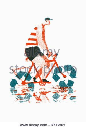 Uomo in Bicicletta Equitazione con simbolo di riciclaggio ruote Immagini Stock