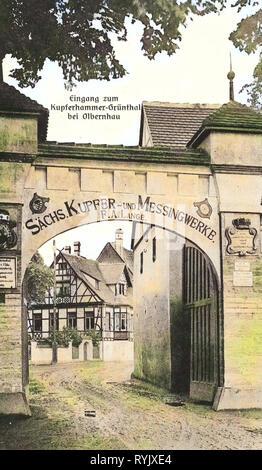 I cancelli in Sassonia, Unteres Tor (Saigerhütte Grünthal), 1912, Erzgebirgskreis, Grünthal, Eingang zum Kupferhammer, Germania Immagini Stock