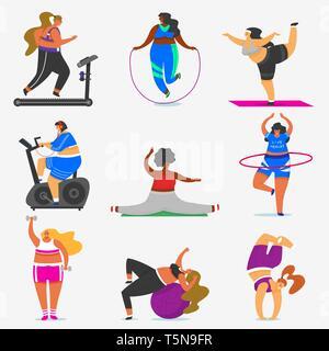 Grasso Fitness ragazze più dimensioni. Salute sport nel club. Donna facendo esercizi, perde peso, in esecuzione sul simulatore, in fase di riscaldamento. Formazione pongono nello yoga Immagini Stock
