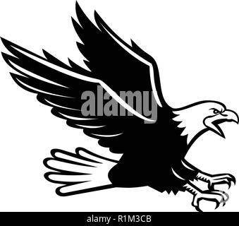 In stile retrò illustrazione di un urlando aquila calva con artigli fuori piomba visto dal lato su sfondo isolato in bianco e nero. Immagini Stock