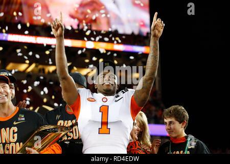 07 gennaio 2019 Clemson Tigers cornerback Trayvon Mullen #1 celebra dopo il campionato nazionale tra i Clemson Tigers e Alabama Crimson Tide a Levi's Stadium di Santa Clara, California. Charles Baus/CSM Immagini Stock