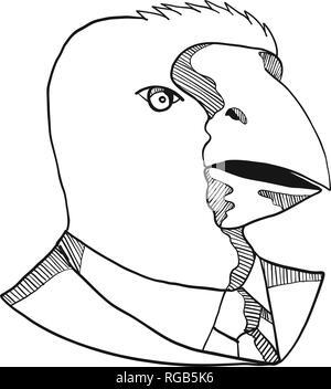 Disegno stile sketch illustrazione della testa di un takahe, South Island takahe o notornis, una specie di uccelli indigeni alla Nuova Zelanda, indossando un bus Immagini Stock