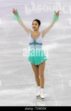 Choi Dabin (KOR) competere nel pattinaggio di figura - Ladies' breve presso i Giochi Olimpici Invernali PyeongChang 2018 Immagini Stock