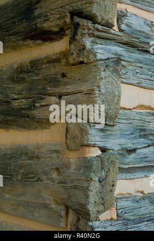 Dettaglio della costruzione della cabina, Cades Cove, Great Smoky Mountain National Park, Tennessee Immagini Stock