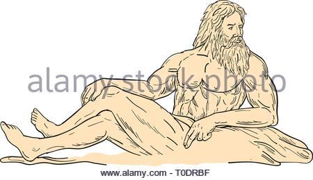 Schizzo di disegno illustrazione dello stile di Ercole, un eroe romano e Dio, reclinato di seduta o appoggio cercando di lato visto dal lato sul bianco isolato Immagini Stock