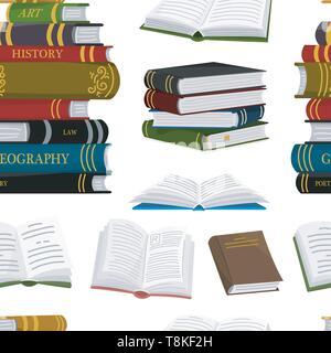 Pila di libri seamless pattern. Sfondo per amante della letteratura. Aprire enciclopedie per la lettura. Pagine invertite. Oggetto in stile contemporaneo Immagini Stock