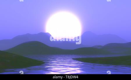 3D render di montagne e lago contro un viola Cielo di tramonto Immagini Stock