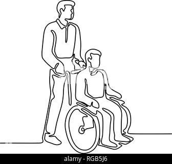 Linea continua illustrazione di un paziente in ospedale o disattivare la persona con handicap o di seduta essendo spingere su wheelcahir da un infermiere realizzato a monolin Immagini Stock