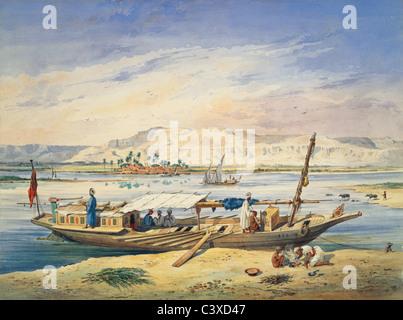 Kanja sul Nilo a Luxor, da Achille-Constant-Theodore Emile Prisse d'Avennes. Egitto, secolo XIX Immagini Stock
