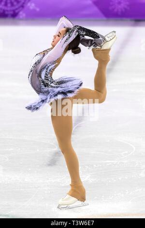 Alina Zagitova (OAR) competere nel pattinaggio di figura - Ladies' breve presso i Giochi Olimpici Invernali PyeongChang 2018 > Immagini Stock