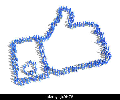 """Un folto gruppo di persone formando un """" simili """" simbolo - 3D illustrazione Immagini Stock"""