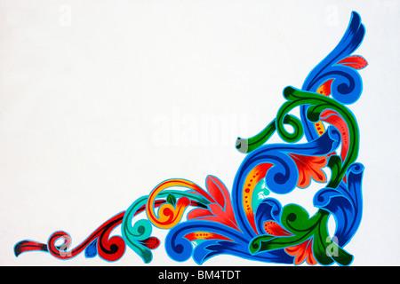 Tipico della Costa Rica tradizionali colori luminosi verniciati design per carrelli di bue Immagini Stock