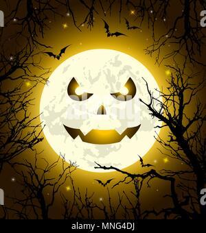 Halloween biglietto di auguri con faccia paura sulla luna, pipistrelli e albero. Illustrazione Vettoriale Immagini Stock