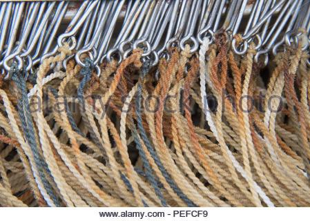 Linea lunga ganci di pesce per la pesca del merluzzo bianco, Immagini Stock