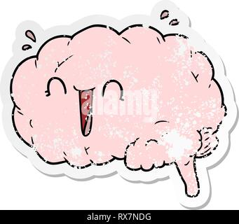 Addolorato adesivo di un cartoon cervello ridere Immagini Stock
