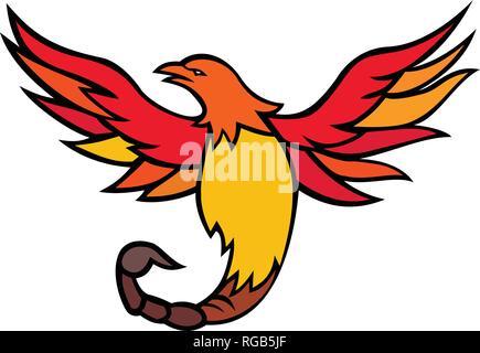 Icona di mascotte illustrazione di Phoenix con una coda di scorpione e velenosa stinger battenti e salendo se visto dalla parte anteriore su sfondo isolato in retr Immagini Stock