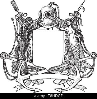 Vintage medievale araldica. Fiorente decorazione per gli stemmi di un fantasy kingdom. Vector Bozzetto disegnato a mano. Immagini Stock