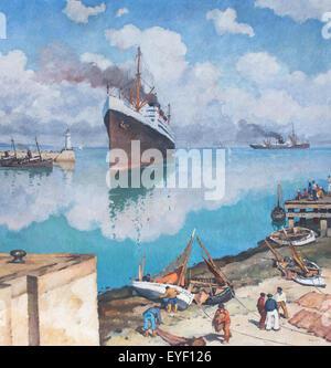 Rivestimento in arrivo al porto 07/12/2013 - xx secolo raccolta Immagini Stock
