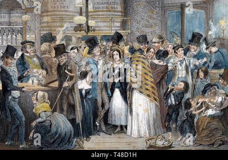 L'ubriaco I BAMBINI 1848 incisione di George Cruickshank Immagini Stock
