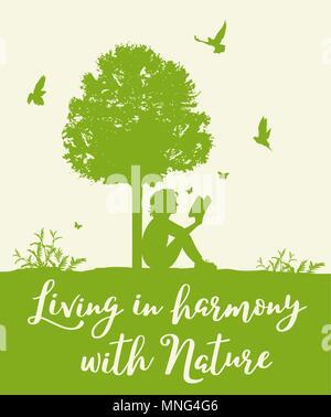 Paesaggio con albero verde, uccelli e una ragazza la lettura di un libro. Concetto di vivere in armonia con la natura. Immagini Stock