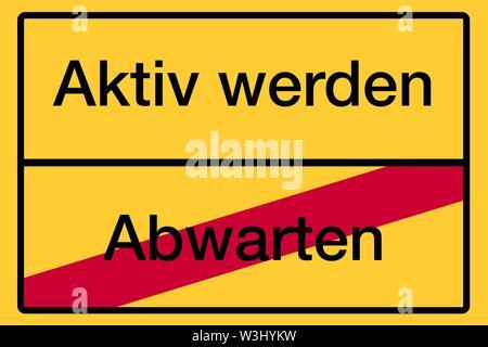 Luogo segno, fine del luogo, immagine simbolica la salute, diventano attivi o attendere, Germania Immagini Stock