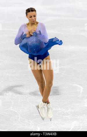 Nicole Schott (GER) competere nel pattinaggio di figura - Ladies' breve presso i Giochi Olimpici Invernali PyeongChang 2018 Immagini Stock