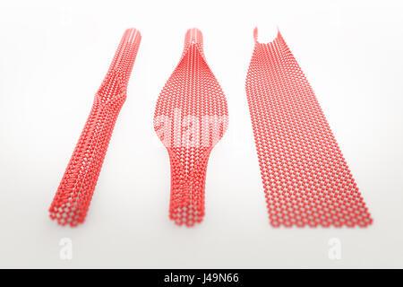 Il dispiegamento dei nanotubi di carbonio - struttura nano tecnologia 3D illustrazione Immagini Stock