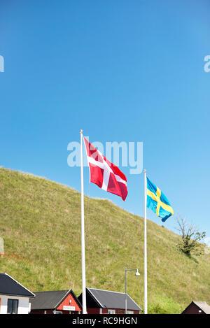 Svedese e danese bandiere Immagini Stock