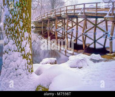 Il vecchio ponte nord, Minute Man National Hostorical Park, Concord, Massachusetts famoso ponte dalla guerra Revoltionary Immagini Stock