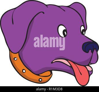 Disegno stile sketch illustrazione di un disorientato Labrador Retriever, Black Lab o retriever-cane, con occhi popping sorpresi e la lingua di fuori in bl Immagini Stock