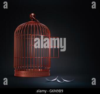 Un open bird cage con piume - concetto di libertà illustrazione Immagini Stock