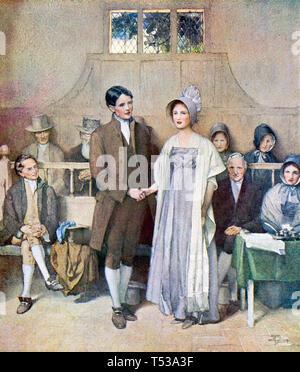 QUAKER WEDDING circa 1790 Immagini Stock