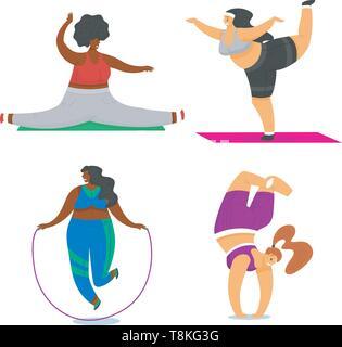 Le ragazze di Fitness più dimensioni. Salute sport nel club. Set di donna grassa facendo esercizi, perde peso, in esecuzione sul simulatore, in fase di riscaldamento. Formazione pongono in Immagini Stock