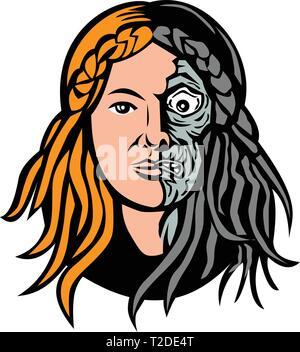 Icona di mascotte illustrazione della testa di Hel, Norse dea della morte e del sottosuolo, con la faccia che è la metà di carne e di ossa a metà o lo scheletro visto fro Immagini Stock