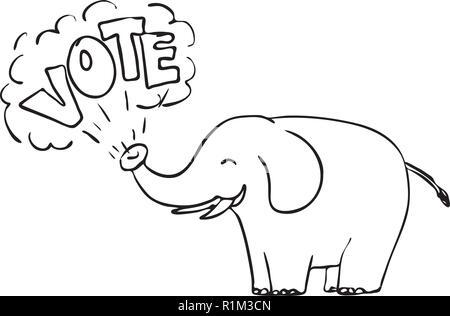 """Disegno stile sketch illustrazione di un elefante bianco soffiando la parola """"voto"""" dal tronco isolato su sfondo bianco in bianco e nero. Immagini Stock"""
