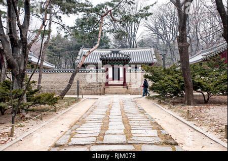 Sacrario di Jongmyo, Seoul, Corea del Sud. Area Jaehung (Eojaesil). Questo è dove il re e il principe ereditario i preparativi per i riti ancestrali. Questo sh Immagini Stock