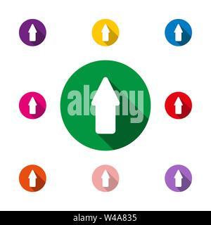 L'icona a forma di freccia con lunga ombra, semplice design piatto Immagini Stock