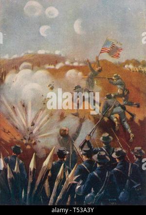 FRANKLIN-NASHVILLE campagna da settembre a dicembre 1864 durante la Guerra Civile Americana. Unione tempesta di soldati di una serie di posizioni consolidate Immagini Stock