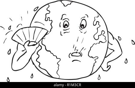 In bianco e nero di disegno stile sketch illustrazione del pianeta terra con ventola fanning stesso per conservare al fresco a causa del riscaldamento globale sul bianco isolato bac Immagini Stock