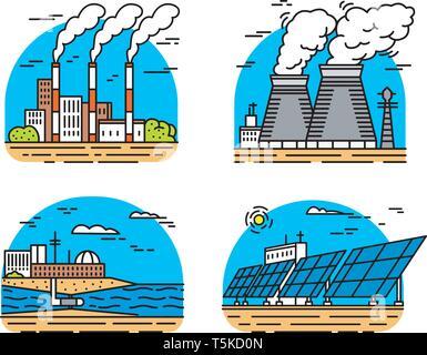 Impianti di alimentazione delle icone. Edifici industriali. Stabilimenti nucleari, chimiche geotermica, vento solare Maremoto idroelettrica, combustibili fossili, generando osmotico Immagini Stock