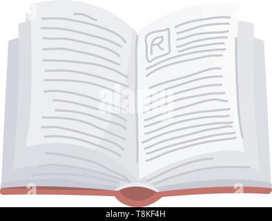 Libro aperto per amante della letteratura. Enciclopedie per la lettura. Pagine invertite. Oggetto in stile contemporaneo. Illustrazione Vettoriale per poster. Immagini Stock