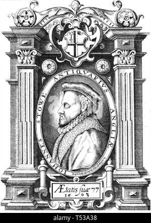 JOHN STOW (1524/5-1605) storico inglese Immagini Stock